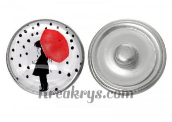 """Bouton pression verre collection """"Un Petit Coin de Parapluie"""" : enfant sous un parapluie rouge"""