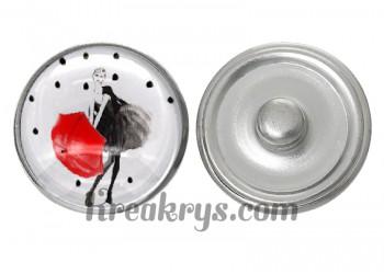 """Bouton pression verre collection """"Un Petit Coin de Parapluie"""" : femme de face avec un parapluie rouge"""