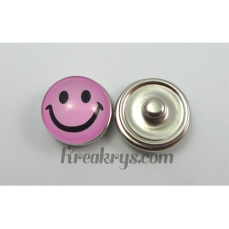 Bouton pression Smiley rose sourire