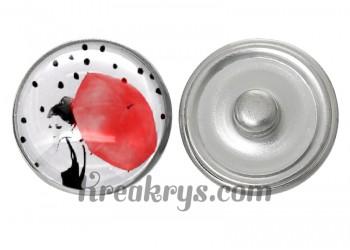 """Bouton pression verre collection """"Un Petit Coin de Parapluie"""" : femme de coté sous un parapluie rouge"""