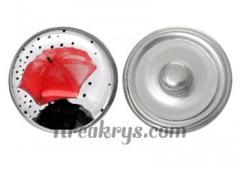 """Bouton pression verre collection """"Un Petit Coin de Parapluie"""" : une personne sous un parapluie rouge"""
