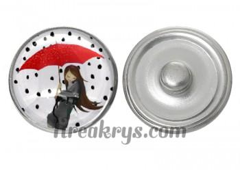 """Bouton pression verre collection """"Un Petit Coin de Parapluie"""" : une femme et son chat sous un parapluie rouge"""