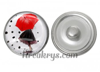 """Bouton pression verre collection """"Un Petit Coin de Parapluie"""" : une femme cachée sous un parapluie rouge"""