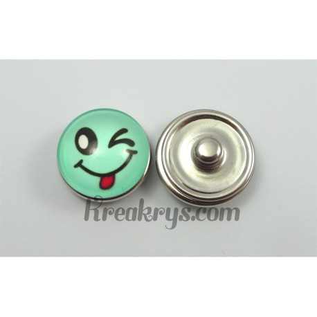 Bouton pression Smiley turquoise clin d'œil