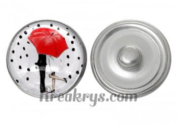 """Bouton pression verre collection """"Un Petit Coin de Parapluie"""" : un couple sous un parapluie rouge"""