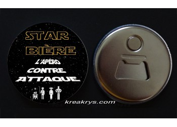 Badge 58 mm Décapsuleur : Star Bière
