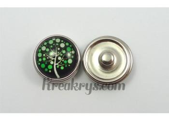 Bouton pression Arbre à pois vert fond noir