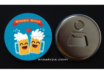 Badge 58 mm Décapsuleur : Happy Beer