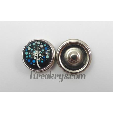 Bouton pression Arbre à pois bleu fond noir