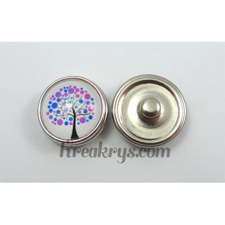 Bouton pression Arbre à pois bleu et violet fond blanc