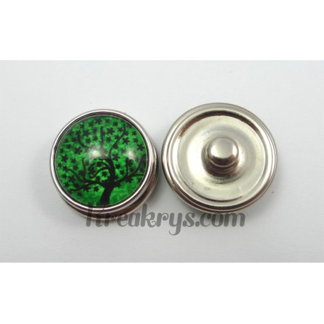 Bouton pression Arbre noir fond couleur verte feuille etoilée