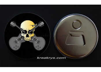 Badge 58 mm Décapsuleur : Guitare Skull