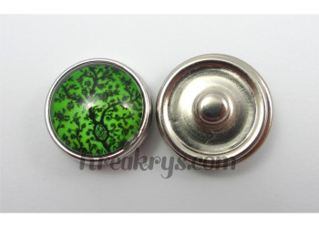 Bouton pression Arbre noir fond couleur verte
