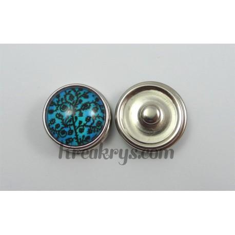 Bouton pression Arbre noir fond couleur bleu