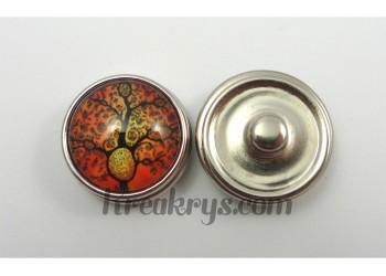 Bouton pression Arbre noir fond couleur orange avec branche ronde