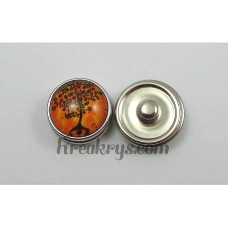 Bouton pression Arbre noir fond couleur orange avec tronc rond