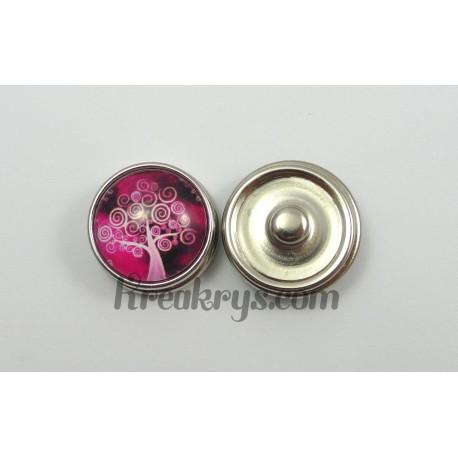 Bouton pression Arbre rose et blanc à spirale fond rose