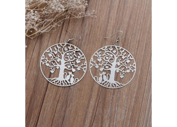 Boucles d'oreilles Filigrane ronde arbre et chats