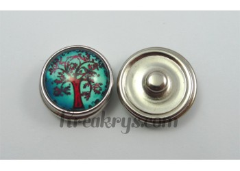 Bouton pression Arbre marron/rouge fond turquoise