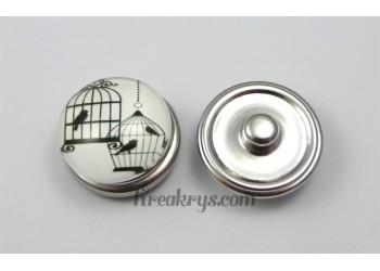Bouton pression verre 2 cages et 3 oiseaux