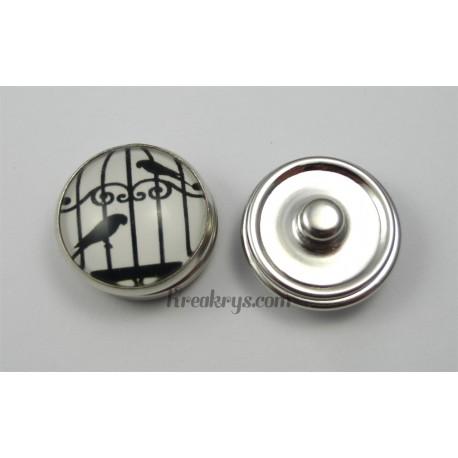 Bouton pression verre 2 oiseaux dans une grande cage