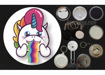 Badge Collection Licorne : Stickers vomit un arc en ciel