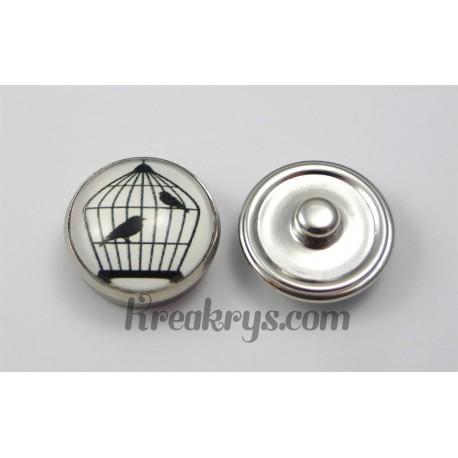 Bouton pression verre 2 oiseaux en cage
