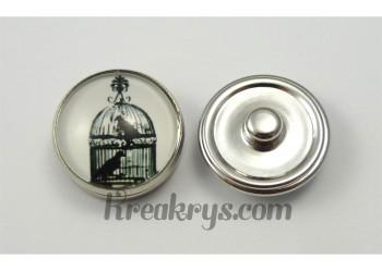 Bouton pression verre 2 oiseaux en cage rétro