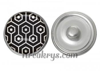 """Bouton pression verre collection """"Noir et Crème"""": Jacquard Hexagone"""