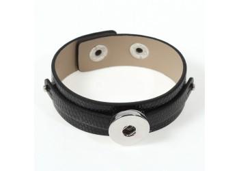 Bracelet pression en simili cuir noir