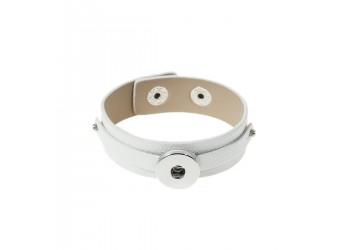Bracelet pression en simili cuir blanc