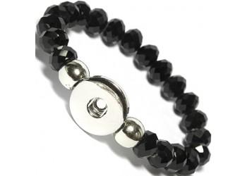 Bracelet pression perle cristale en verre noir