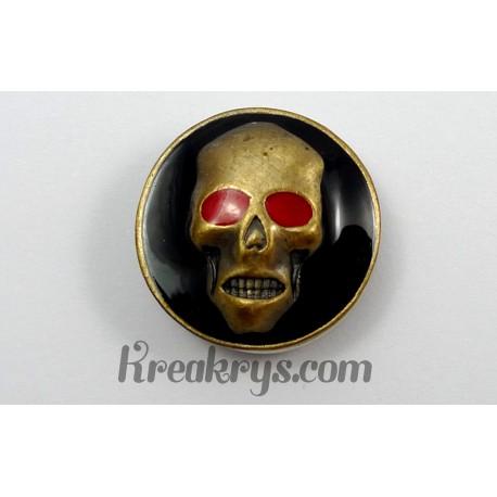 Bouton pression métal bronze Tête de mort