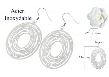 Boucles d'oreilles acier inoxydable multi-cercles ovale