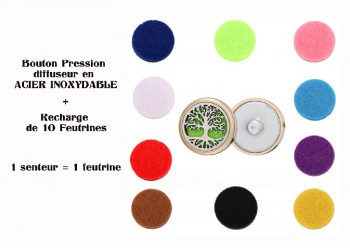 Bouton pression acier inoxydable diffuseur arbre de vie