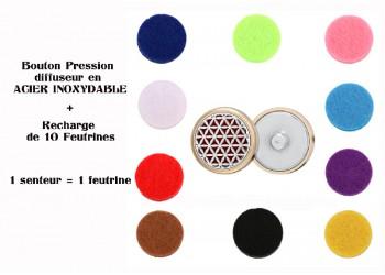 Bouton pression acier inoxydable diffuseur fleur de vie