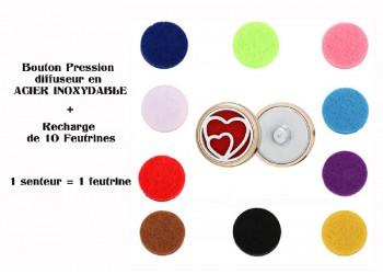 Bouton pression acier inoxydable diffuseur coeur
