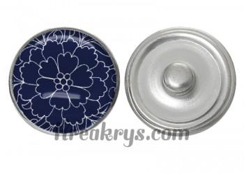 """Bouton pression verre collection """"Bleu Marine et Blanc"""" : fleur bleue fond bleu"""