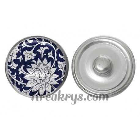 """Bouton pression verre collection """"Bleue Marine"""" : fleur bleu fond blanc"""