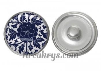 """Bouton pression verre collection """"Bleu Marine et Blanc"""" : fleur bleue fond blanc"""