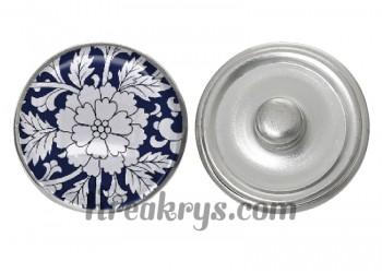 """Bouton pression verre collection """"Bleu Marine et Blanc"""" : fleur blanche fond bleu"""