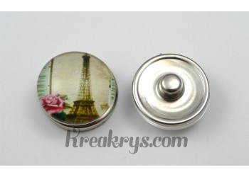 Bouton pression Tour Eiffel avec une rose