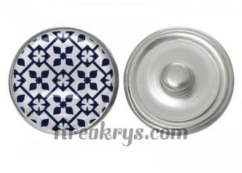 """Bouton pression verre collection """"Bleu Marine et Blanc"""" : motif floral carré"""