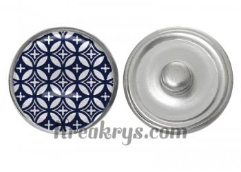 """Bouton pression verre collection """"Bleu Marine et Blanc"""" : motif géométrique floral"""