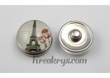 Bouton pression Tour Eiffel avec deux tulipes