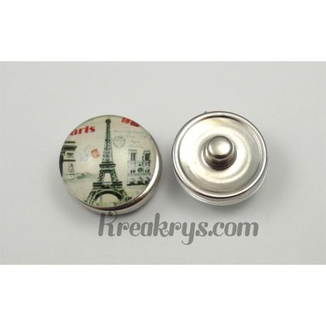 Bouton pression Tour Eiffel avec monuments