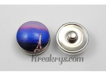 Bouton pression Tour Eiffel de nuit