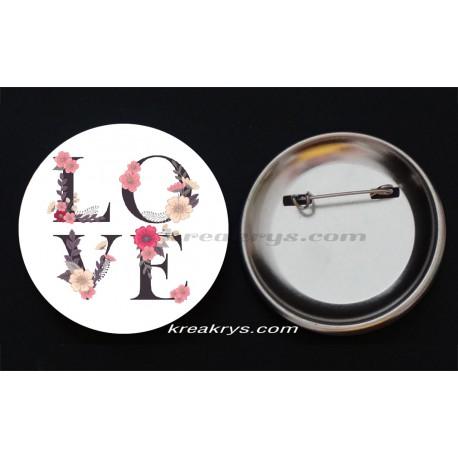 Badge Collection Saint Valentin : Coeur I Love You fond rayé