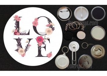 Badge Collection Saint Valentin : Coeur I Love You fond rayé