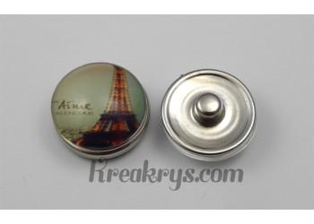 """Bouton pression Tour Eiffel avec le mot """"aime"""""""